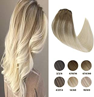 Sunny Clip in Human Hair Extensions 14 Inch Balayage Clip in Hair Extensions Light Brown Fading to Platinum Blonde Extensions Remy Clip in Hair Extensions 120g 7pcs