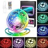 Swonuk 5M LED Strip Lichtband, LED TV Hintergrundbeleuchtung RGB USB LED Strip Lichtband mit Fernbedienung, Farbwechsel LED Band Leiste Lichterketten für Schlafzimmer, Party und Feriendekoration