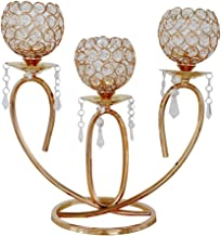 Fenteer 3 Arms Candelabra Crystal Candle Holders for Wedding Dinner Table Centerpiece Firplace Decoration, Holidays Home D...