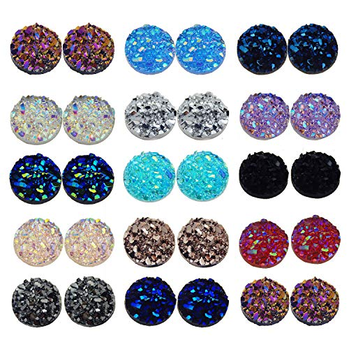 300Pcs 12mm Resin Round Faux Druzy Cabochons Flat Back Cameo Beads Craft Jewelry Making DIY Beads Scrapbooking Mixed