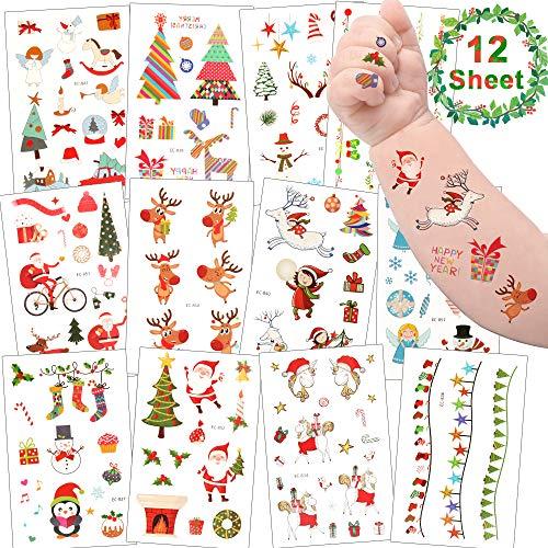 Sporgo Tattoo Kinder, Weihnachts Tattoo Temporäre Tattoos Set Aufkleber für Kinder Party Mitgebsel Kindergeburtstag Geschenktüten Kinder Spielen Piraten Party Zubehör