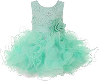 0e94d6939df Cinderella Couture Baby Girls Mint Lace Sequin Multi Layer Ruffle Flower Girl  Dress 6-24M