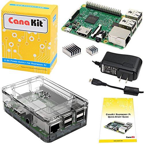 CanaKit Raspberry Pi 3 kit con estuche transparente y fuente de alimentación de 2.5A
