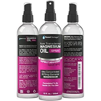 Pure Magnesium Oil Spray - LEAST ITCHY and Highest Potency - ONE 12fl. Oz Transdermal Magnesium Oil - Used for Joint Pain, Sore Muscles, Insomnia, Restless Leg Syndrome, Headaches and more - Made in USA