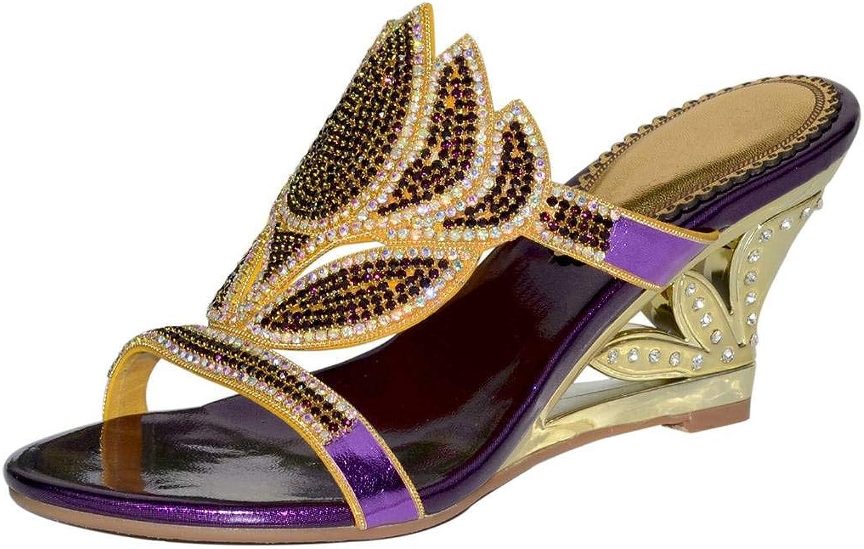 YooPrettyz Crystals Studded Slid Wedge Sandal Front Strap Wedding Evening Party Prom Sandal