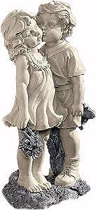 Paity Boy & Girl Kissing Garden Statue, Indoor Outdoor Garden Decor Accent, Decorative Yard and Lawn Decoration, Inspiring Love and Romance Decor for Patio Deck Yard Garden Lawn Porch Decor