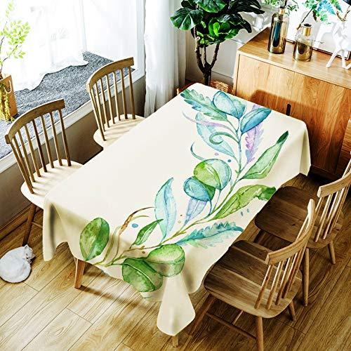 Tafelkleed Rechthoekig Plant Flower Tafelkleed Beschermhoes Spatwaterdicht en wasbaar tafelkleed 55X78 inch