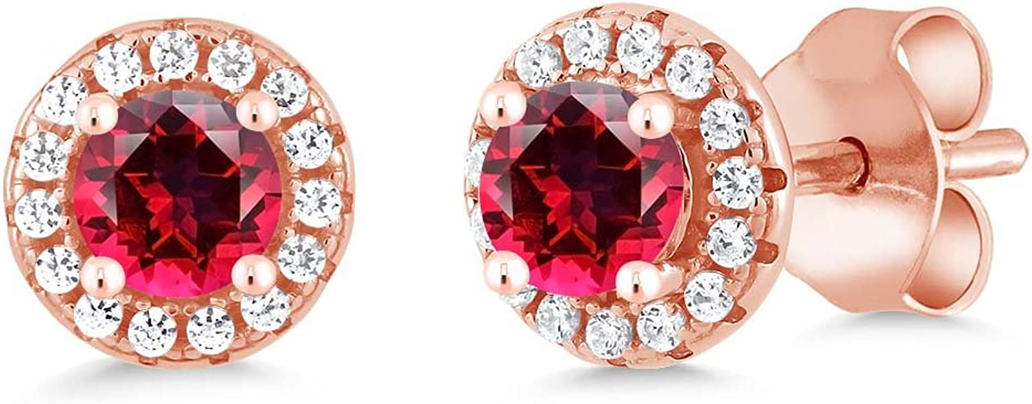 0.75 Ct Red 925 pink gold Plated Silver Earrings Natural Topaz Cut by Swarovski