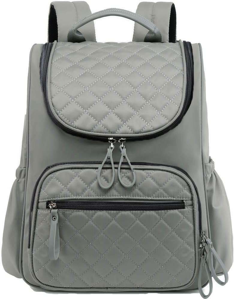 PAOIXEEL Large Capacity Diaper Bag Backpack, Lightweight Water-Resistant Nylon Travel Backpack with Anti-Theft Pocket, Grey