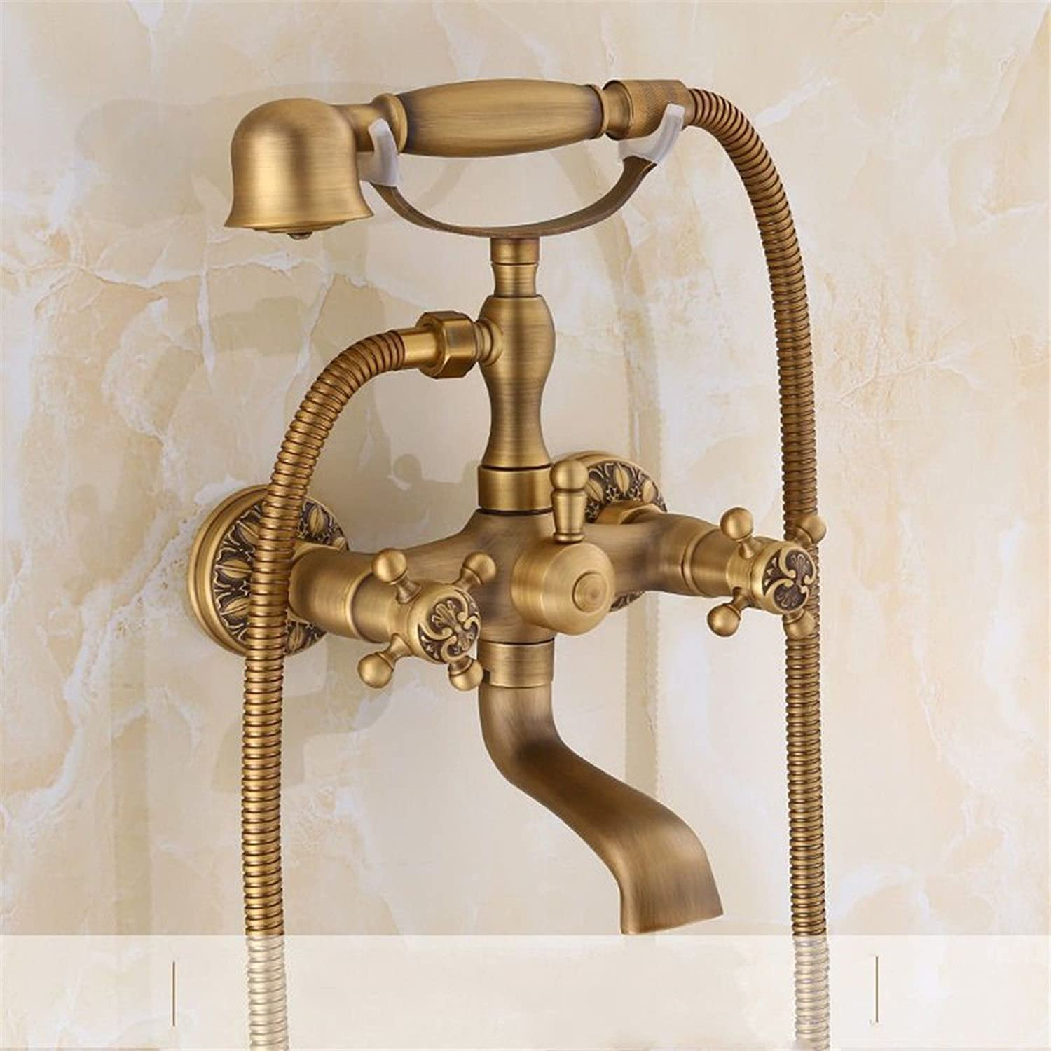 Hlluya Professional Sink Mixer Tap Kitchen Faucet All copper antique shower faucet set mixing of hot and cold water bath faucet set into the wall faucet suite shower sprinkler C