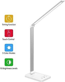 Lámpara Escritorio LED,Lámparas de Mesa USB Regulable Recargable-2000mAh Plegable Luz(5 Modos,10 Niveles de Brillo,Temporizador de 30/60min) Para Leer,Estudiar, Cuidado de ojos
