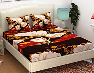 STARnSTYLE Brown Lotus Printed 3D 140 TC Double bedsheet with 2 Pillow Cover,Double bedsheets with 2 Pillow Covers Cotton,bedsheets for Double Bed,Bed Sheets Cotton,Cotton Double bedsheet