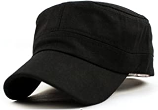 Lookatool Classic Plain Vintage Army Military Cadet Style Cotton Cap Hat Adjustable (Hat Circumference:58cm, Black)