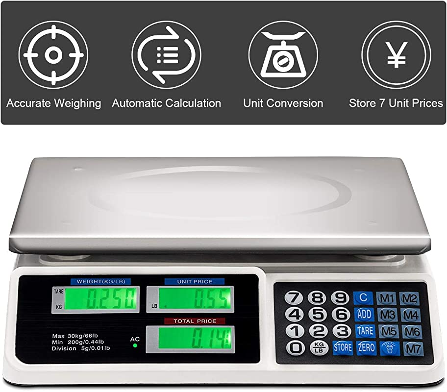 Electronic Price Computing Scale Safstar Food Fruit Vegetable Weighting Scale 66 Lb Rechargeable Battery Stainless Steel Platform For Market Vendors Grocery Retail Stores