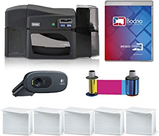 Fargo DTC4500e Dual Sided ID Card Printer & Complete Supplies Package with Bodno ID Software