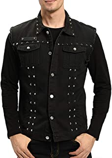 Men's Slim Fit Punk Denim Vest Sleeveless Jeans Vest Jacket with Rivets