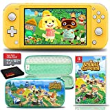 Nintendo Switch Lite (Yellow) Console with Animal Crossing: New Horizons Game, Hard Shell Case, 64GB microSD Card, and 6Ave Cleaning Cloth - Ultimate Animal Crossing Bundle