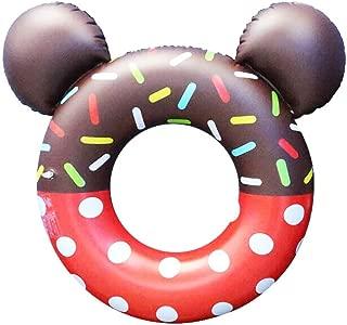 Asylen 浮き輪 子供用 浮具 流行り新型式 ミッキーマウスのデザイン ドーナツフロート(チョコレート)泳ぎトレーナー 保護輪 可愛い浮輪 海水浴 プール ビーチグッズ うきわ 水遊び プール・海・川 海水浴 水泳用品 贈り物 おもちゃ 夏の日 直径80cm (赤)