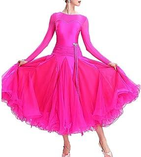 Fhxr Langärmeliges Soziales KleidWaltz Ballroom Dance Kleider Für Damen Langarm, Standard Tanz Performance Kostüm Big Swing Competition Flamenco Rock Mit Strass