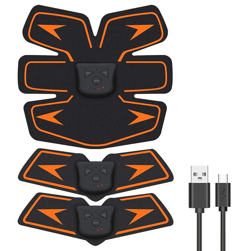 ミネラル鉱夫母性EMSIC EMS 腹筋ベルト USB充電式 腹筋 腕筋 筋トレ器具 トレーニングマシーン 「6種類モード 10段階強度 日本語説明書付属」