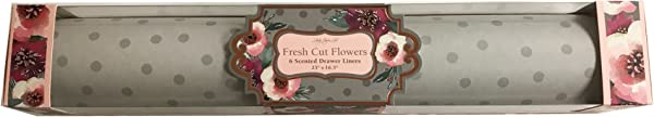 Lady Jayne Fresh Cut Flowers Scented Drawer Liners Gray Polkadots On A Light Gray Background 6 Sheets