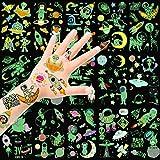 HOWAF Tatuajes Temporales para niños, 14 Hojas Brillan en la Espacio Espacio Luminoso Falso Tatuaje Pegatinas Tatoos para Niños Infantiles decoración de Regalo de Fiesta de cumpleaños