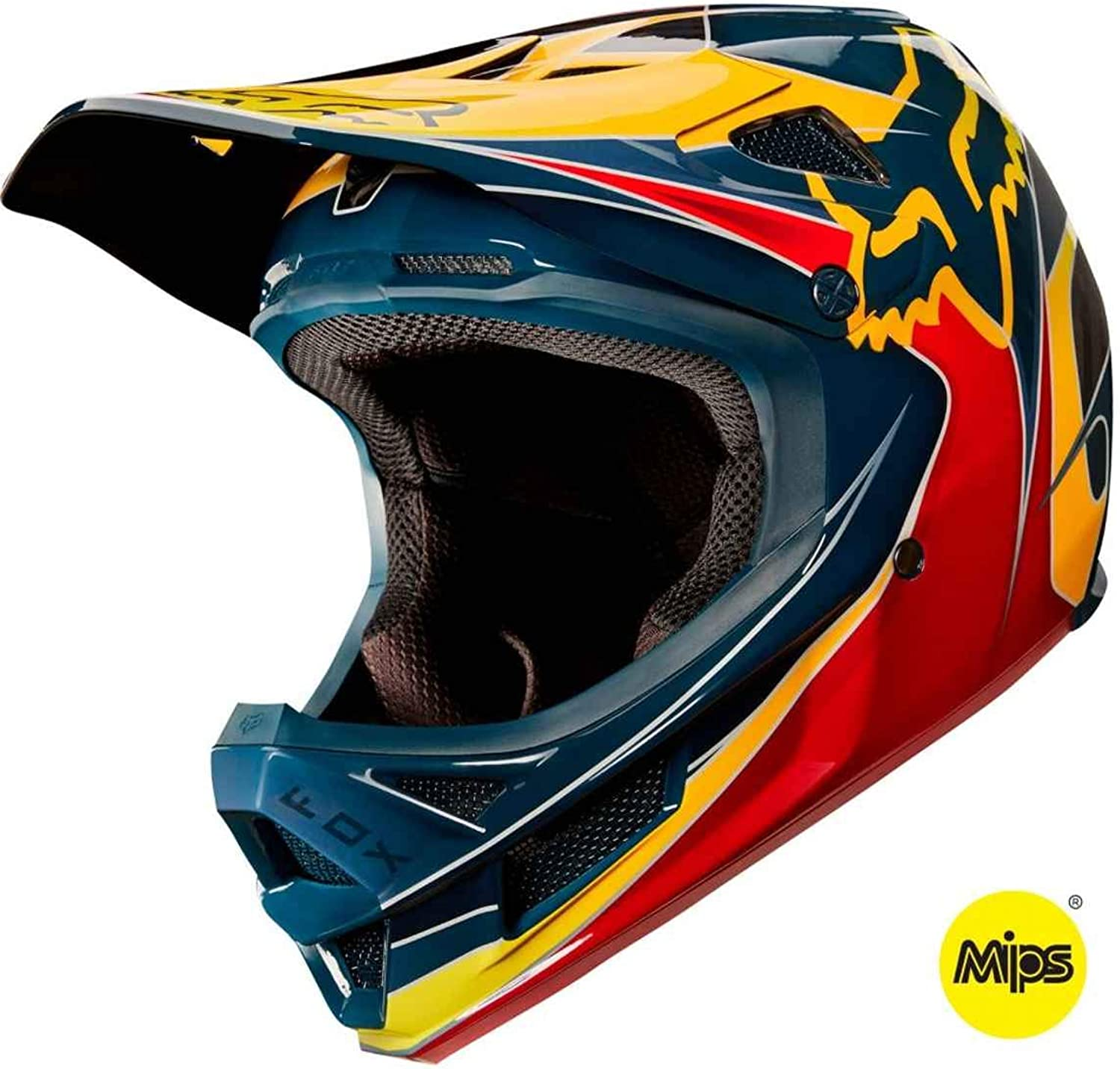Fox Rampage Pro Carbon Kustm Bike Helmet Red Yellow