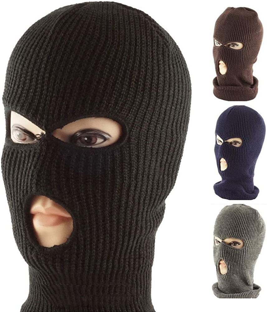 3-Hole Knitted Full Face Ski Mask Adult Winter Balaclava Knit Full Face Mask Outdoor Sports