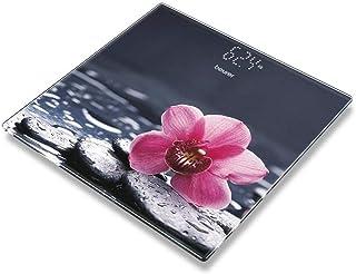 Beurer GS-215 Relax - Báscula digital de vidrio con diseño flor, pantalla LCD invisible, dígitos 2.7cm, 180 kg / 100 gr, vidrio seguridad, indicador batería baja, gris con flor rosa