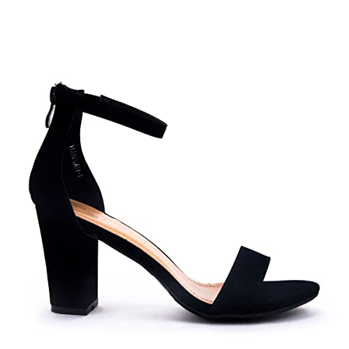 888a1d3e2990 LOV Shoes Women s Ankle Strap Chunky Heel Sandal with Zipper Closure
