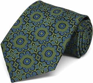TieMart Boys' Avocado Green Emma Floral Pattern Necktie
