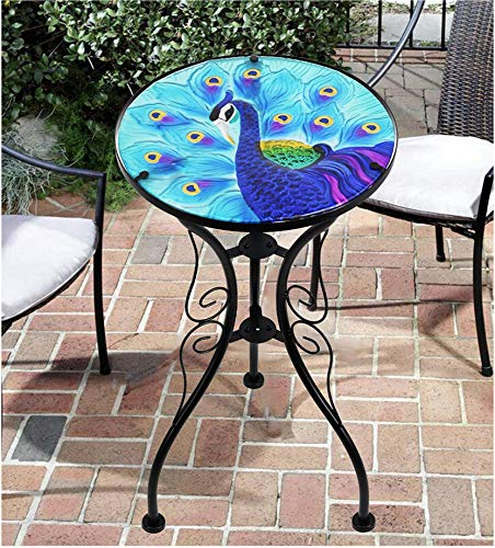 Iron/Glass Round Mosaic Design Side Table Garden Outdoor Patio Flower Plant Stand (Blue Peacock)