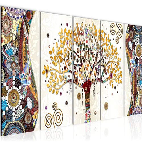 Cuadro en LienzoGustav Klimt Árbol de la vida 200 x 80 cm - XXL Impresion Material Tejido no Tejido Artistica Imagen Grafica Decoracion de Pared -5 piezas - Listo para colgar -004655a