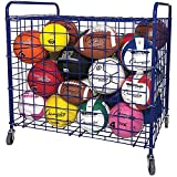 Champion Sports Portable Ball Cart with Lockable Hinge Cover - Sports Equipment Storage Locker with Caster Wheels - Ball Organizer Holds 24 Sports Balls, Mobile Locking Ball Cage (Full Size)