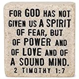 Lighthouse Christian Products Fearless in God Scripture Block 2.25 x 2.25 Cast Stone Plaque