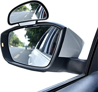 YASOKO Adjustable 360 Degree Rotation Wide Angle Side Rear Mirrors Blind Spot Snap Way Rearview Mirror Universal (Left, Black)