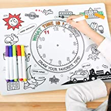 TKMom Kids Mark-Mat Food-Grade Coloring Silicone Placemat   Time Learning   with 6 Non-Toxic Markers, One Waterproof & Washable Silicone