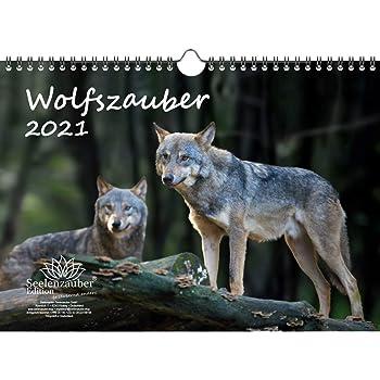 Wolfszauber Calendrier 2021 Format A4 Motif loup et loups: Amazon