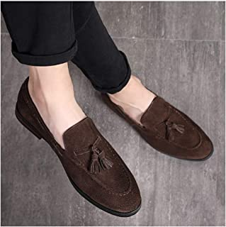 ZHANGLEI Oxfords for Men Penny Loafers Slip on Pointed Toe Suede Upper Anti-Slip Tassel Solid Color Low Top Flat Heel Casual Shoes (Color : Coffee, Size : 5.5 UK)