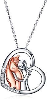 قلادة من الفضة الإسترليني بتصميم قلب وحيوان وقمر من واي اف ان، 18 انش، هدية للفتيات