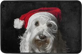 Mydaily Christmas Schnauzer Dog Doormat 15.7 x 23.6 inch, Living Room Bedroom Kitchen Bathroom Decorative Lightweight Foam Printed Rug