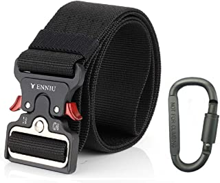 """Yeapv Nylon Tactical Web Belt, W/1.5""""-2"""" Military Army Style Combat Riggers Webbing Belt Adjustable Heavy Duty with Quick-Release Metal Buckle for Men Women"""