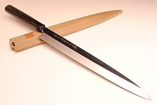 YOSHIHIRO Shiroko Honyaki Mirror-Finished Yanagi Ebony Handle Sushi Sashimi Japanese Chef's Knife 11.8
