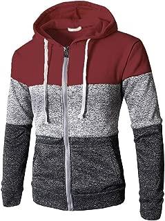 Mens Hoodie Sweatshirt Jumper Zipper cardigan colorblock stitching Large Size zip long sleeve Sports Top