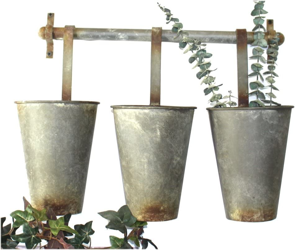 The King's Bay Wall Mounted Aged Metal Buckets Use Tin Garden Max 68% OFF fo Super intense SALE