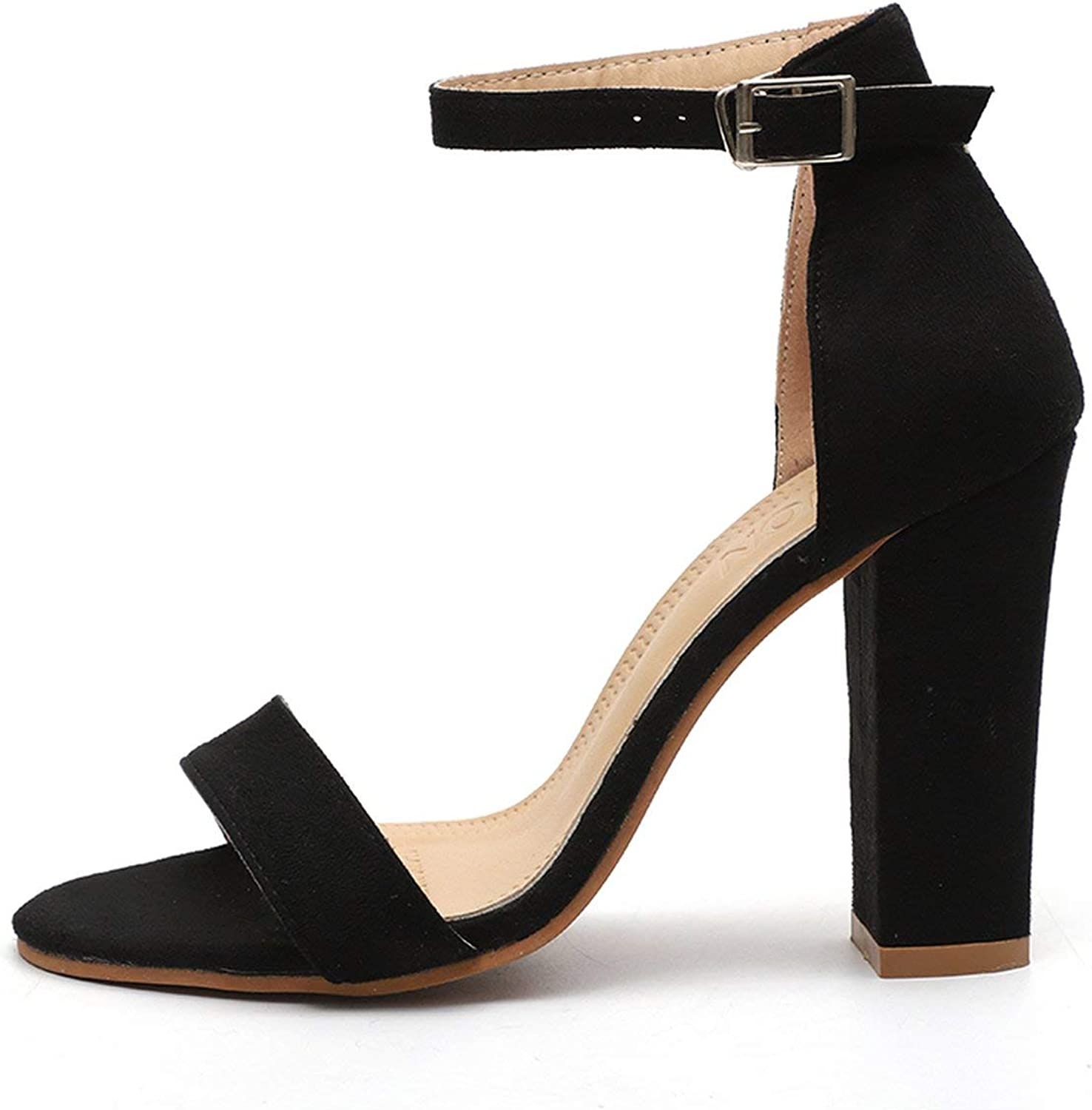 HANBINGPO 2019 Summer Women Flock Square Heel Sandals High Heels Buckle Strap Female Fashion Dress Woman Sandal shoes for Girls Plus Size,Black,6