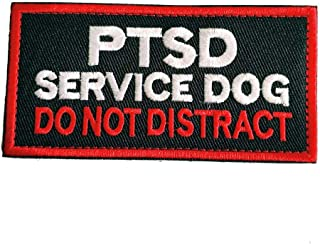 Service Dog Working Do Not Touch in Training Vests/Harnesses Emblem Embroidered Military Hook & Loop Patch (I - PTSD 2)