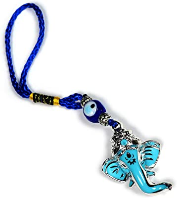 Reiki Crystal Products Metal Feng Shui Ganesha With Evil Eye Hanging, Standard, Blue, Blue & Silver, 1 Piece