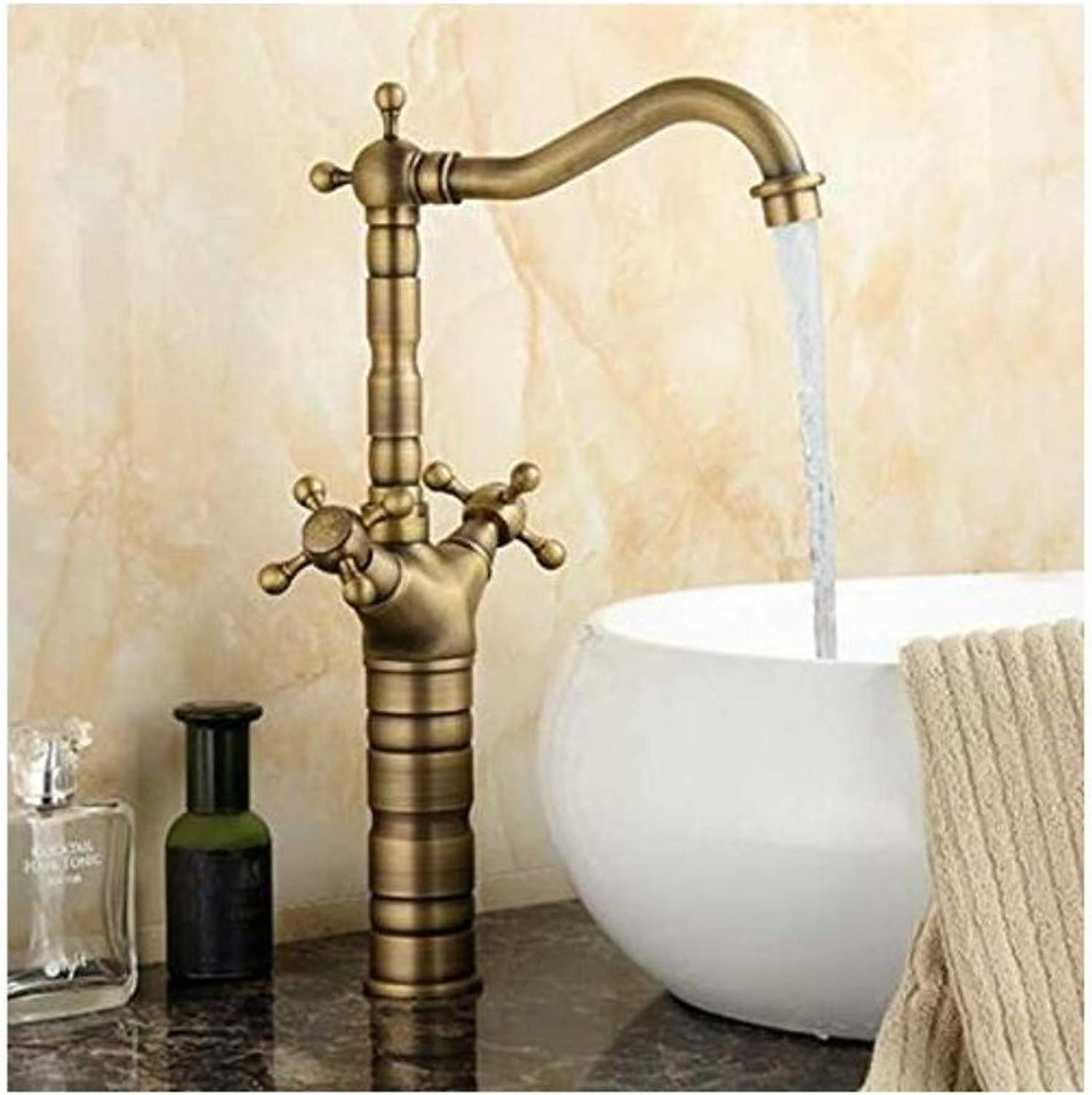 Modern Double Basin Sink Hot and Cold Water Faucet Tap Antique 360 Swivel Faucets 512A Double Handles