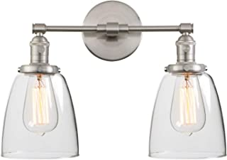 Phansthy Vintage 2-Light Wall Light Dual Light Wall Sconce Light with 5.6 Inches Clear Glass Canopy(Brushed)